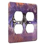 2 Gang AC Outlet Wall Plate – Zebra at Twilight Equine Art by Denise Every