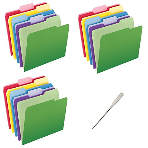 Pendaflex Letter Size File Folders with InfoPocket (Pack of 90) - Bundle Includes a Letter Opener