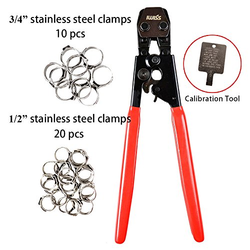 IWISS PEX Clamp Cinch Tool Crimping Tool Crimper for Stainless Steel Clamps from 3/8″ to 1″ with 1/2″ 20PCS and 3/4″ 10PCS SS PEX Clamps