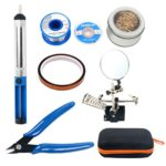 YaeTek Repair Tool Kit, Including Helping Hand Magnifier with Soldering Station, Solder Wire, Desoldering Pump, Desoldering Wick, Wire Cutter, Copper Foil Tape and Solder Cleaning Wire in Carry Bag