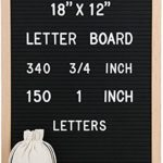 "18 x 12 Inch Felt Letter Board – Changeable Letter Board, Black Felt Boards with 490 (340 3/4"" and 150 1"") Letters and Characters, Imported Oak Wooden Frame, Mounting Hook, Letter Storage Bag R001"