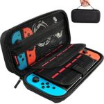 Hestia Goods Switch Carrying Case compatible with Nintendo Switch – 20 Game Cartridges Protective Hard Shell Travel Carrying Case Pouch for Nintendo Switch Console & Accessories, Black