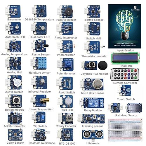 SunFounder Ultimate Sensor Kit for Arduino UNO R3 Mega2560 Mega328 Nano – Including 98 Page Instructions Book