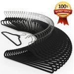 Premium Quality Velvet Hanger (Set of 50) – Ultra -Thin No Slip Velvet Suit Hangers – Swivel Hooks, STRONGER Than Standard Velvet Hangers – Space Saving Clothes Hangers – Black