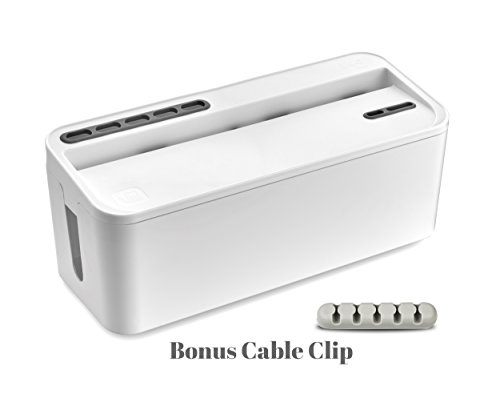 Bins & Things Cable Management Box and Power Strip Organizer | Large – White | Entertainment Center, USB, Computer, Charging Cords | Home and Office Organization | Compact, Discrete Safety