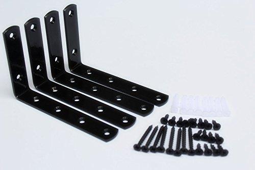 """MHMYDZ 4 Pcs Black Steel Heavy Duty """"L"""" Corner Brace Joint Angle Bracket Shelf Bracket Wall Hanging with Screws 125mmX75mm/5 InchX3 Inch Decorative Corner Brackets Joint Angle Bracket"""