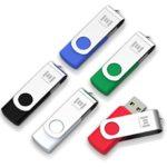 mosDART 5 X 16GB USB 2.0 Flash Drive Swivel Bulk Thumb Drives Memory Sticks Jump Drive Zip Drive with Led Indicator,Black/Blue/Red/White/Green(16GB,5pack MIX Color)