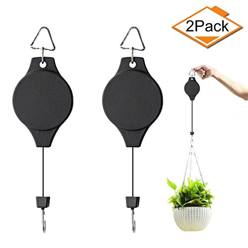 Salare 2pcs Plant Pulley, Retractable Plant Hanger Hanging Planters Flower Basket Hook Hanger Heavy Duty Hanging Hooks for Planters Flower Baskets Pots Bird Houses(Black)