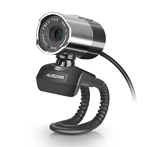 Ausdom Full HD 1080p Webcam Web Camera with Microphone, Sliver