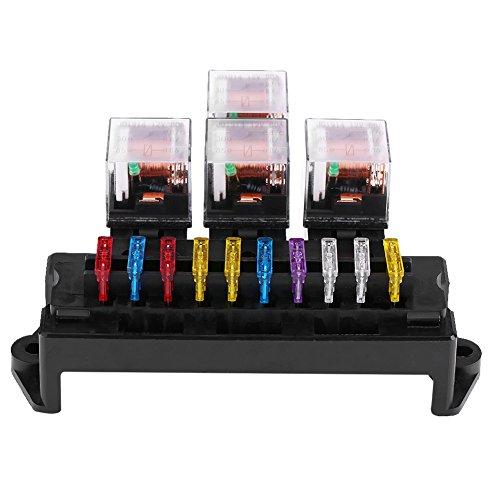 Qiilu Car Auto 10 Way 5-Pin Circuit Standard Blade Fuse Box Block Holder Interior Engine Parts