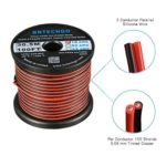BNTECHGO 18 Gauge Flexible 2 Conductor Parallel Silicone Wire Spool Red Black High Resistant 200 deg C 600V for Single Color LED Strip Extension Cable Cord,Model,Lead Wire 100ft Stranded Copper Wire