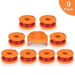 OFPOW Replacement String Trimmer Line, 10ft 0.065″ Grass Trimmer Line Spool for Worx WA0010, 9 Pack (8 Replacement Line Spool,1 Trimmer Cap)