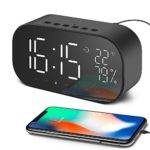 Yayusi Alarm Clock Radio with Bluetooth Speaker, Digital Alarm Clock for Bedroom with Thermometer, Dimmable LED Display, Dual Alarm with Snooze, TF Card Slot, USB Charging Port, FM Radio/AUX-IN