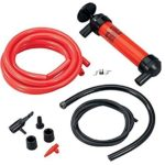 Siphon Liquid Transfer Hand Pump Kit Manual Plastic Sucker Pump With Two – 50 x ½ Inch Hoses – For Gas, Oil, Air, Other Fluids – Use In Case Of Emergency