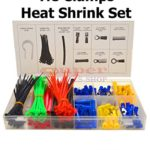 308 Pcs Heat Shrink Assortment Kit Electrical Ring Terminal, Butt Connector, Male Female Disconnector, Cable Tie, Cable Clamp, Heat Shrinking Tubing Set Cable Wire Electric Super-Deals-Shop