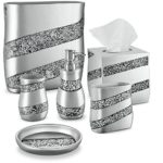 Dwellza Silver Mosaic Bathroom Accessories Set, 6 Piece Bath Set Collection Features Soap Dispenser, Toothbrush Holder, Tumbler, Soap Dish, Tissue Cover, Wastebasket