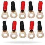 InstallGear 10 Gauge AWG Crimp Ring Terminals Connectors – 10-Pack (5 Positive, 5 Negative)