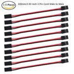 MakerFocus 10pcs Servo Extension Cable Lead Wire 100mm 3.93 inch 3 Pin Cord Male to Male JR Plug for RC Plane