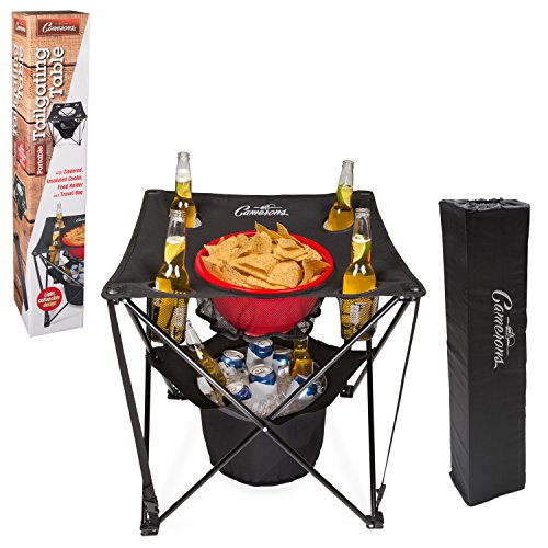 Tailgating Table- Collapsible Folding Camping Table with Insulated Cooler, Food Basket and Travel Bag for Barbecue, Picnic & Tailgate