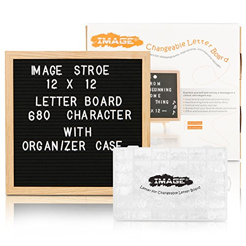Changable Felt Letter Board with 680 Letters, Numbers & Symbols,12x12 inches, Changeable Wooden Message Board Sign, Oak Wood Frame,Wall Mount, with Free Box Organizer