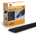 Floor Cable Cover – 4 Ft Black Duct Cord Protector Covers Cables, Cords, or Wires – 3 Channel On Floor Raceway for Sidewalks or Walkways, In the Home or Office Doorways (4 ft)