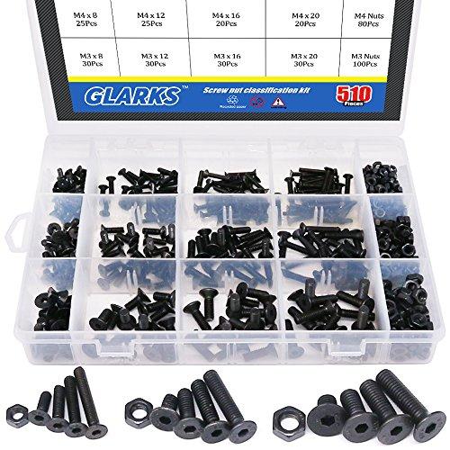 Glarks 510Pcs Metric M3 M4 M5 Alloy Steel Socket Cap Screws Hex Head Bolt Nuts Assortment Kit – Black Oxide Finish