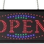 Displays2go Open LED Store Retail Sign, Window or Wall Hanging, Animated, Colored Lights (OPENSGN05)