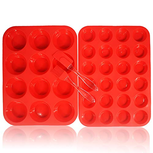 Walfos Reusable BPA Free Silicone Muffin & Cupcake Baking Pan Set (12 cup Regular Size & 24 Mini Cup Sizes) / Non Stick cake molds / Dishwasher – Microwave Safe (Red)