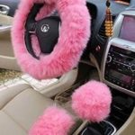 Yontree Winter Warm Faux Wool Handbrake Cover Gear Shift Cover Steering Wheel Cover 14.96″x 14.96″ 1 Set 3 Pcs (Pink)