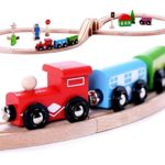 Cubbie Lee Premium Wooden Train Set Toy Double-Sided Train Tracks, Magnetic Trains Cars & Accessories for 3 Year Olds and Up – Compatible w/ Thomas Tank Engine and Other Major Brands