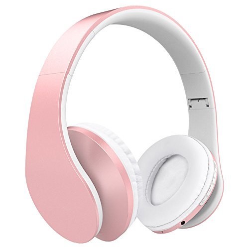 Heckia Music Headphone Over Ear, Stereo Wireless Wired Foldable Hi-Fi Headset Noise Cancelling Built in Mic Lightweight Adjustable Comfortable Earphone for iPhone iPad Macbok MP3 Cellphone Laptop