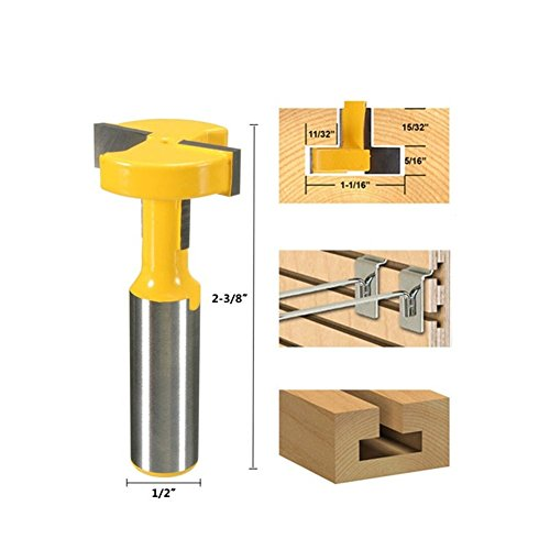 GS Straight T Slot Router Bit 1/2 Inch Shank Carbide Wood Milling Cutter Woodworking Drill Bit Tool