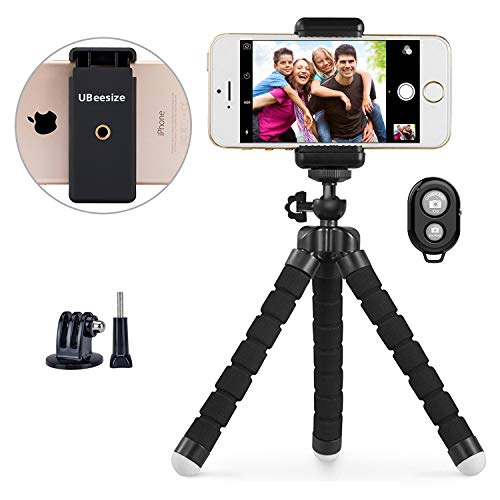 Phone tripod, UBeesize Portable and Adjustable Camera Stand Holder with Wireless Remote and Universal Clip for iPhone, Android Phone, Camera, Sports Camera GoPro