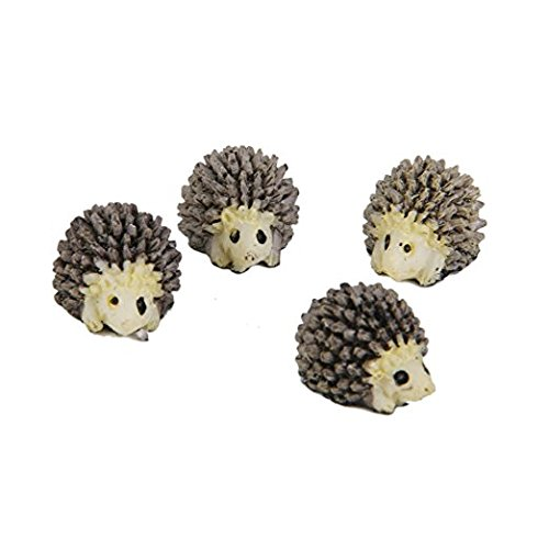 Hezon 5 Pcs Miniature Landscape Garden Decoration Mini Hedgehog Ornaments(Black)