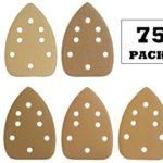 FUGEN GOLD 75PCS Mouse Detail Sander Sandpaper Sander Paper Sanding Paper Sander Pads Sanding Sheets Assorted 40 80 120 240 400 Grits for Ryobi Corner Cat Wen Detailing Palm Sander Genesis Craftsman