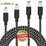 Ulimag Lightning Cable 4Pack 3FT 6FT 10FT 10FT Nylon Braided Certified iPhone Cable USB Cord Charging Charger for iPhone X, 8, 8 Plus, 7, 7 Plus, 6s, 6s Plus, 6, 6 Plus, SE, iPad – Black White