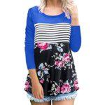 Sunhusing Women Female Striped Long Sleeve Landscape Floral Print O Neck T-Shirt Top