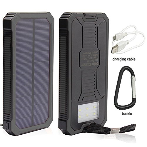 Solar Charger, Stoon 12000mAh Solar Power Bank Portable External Battery Pack with Dual USB Ports & Solar LED Lights for iPhone, iPad, Samsung, All Smartphones, Outdoor Camping Travelling (Black)