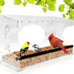 Window Bird Feeder – 2019 Model – Extended Roof – Steel Perch – Sliding Feed Tray Drains Water – See Wild Birds Up Close! – Large