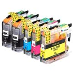 K-Ink Brother LC203 LC 203XL LC201 Compatible Replacement Ink Cartridges (5 Pack – 2 Black, 1 Cyan, 1 Magenta, 1 Yellow)