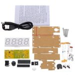 WINGONEER 4-Digit DIY LED Electronic Clock Kit Microcontroller 0.8inch Digital Tube Clock with Thermometer Hourly Chime Function DIY Kit Module – Green