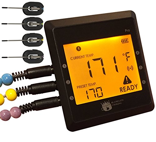 Best Digital Meat Thermometer, Max 6-Probe Smart Bluetooth Wireless Remote Thermometer 300 Feet Away w/Phone APP Alarm/Timer, 4 Stainless Steel Probes for Kitchen Oven, BBQ Grill, Smoker