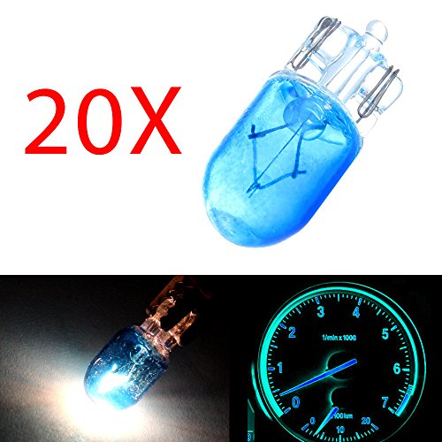 cciyu T10 Halogen Light Wedge 194 168 Light Instrument Panel Gauge Cluster Halogen Bulb Replacement fit for Dome Map Trunk/Cargo Area Light Step/Courtesy/Door Light