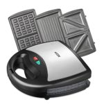 Aicok Sandwich Maker, Waffle maker, Sandwich toaster, 750-Watts, 3-in-1 Detachable Non-stick Coating, LED Indicator Lights, Black