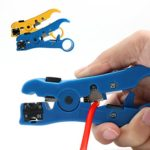 Universal Stripping and Cutting Tool for RG59/6/11/7, UTP and STP, CAT5 4P/6P/8P Flat & Round Cables Adjustable Blade Depth Blue