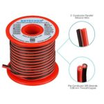 BNTECHGO 20 Gauge Flexible 2 Conductor Parallel Silicone Wire Spool Red Black High Resistant 200 deg C 600V for Single Color LED Strip Extension Cable Cord,Model,Lead Wire 50ft Stranded Copper Wire