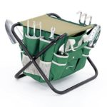 SONGMICS 8 Piece Garden Tool Set Includes Garden Tote Folding Stool and 6 Hand Tools w/Heavy Duty Cast-aluminum Heads Ergonomic Handles UGGS40L