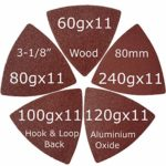 XXGO 55 Pcs Triangular 3-1/8 Inch 60/80/100/120/240 Grits Hook & Loop Multitool Sandpaper for Wood Sanding Contains 11 of Each Fit 3-1/8 Inch Oscillating Multi Tool Sanding Pad