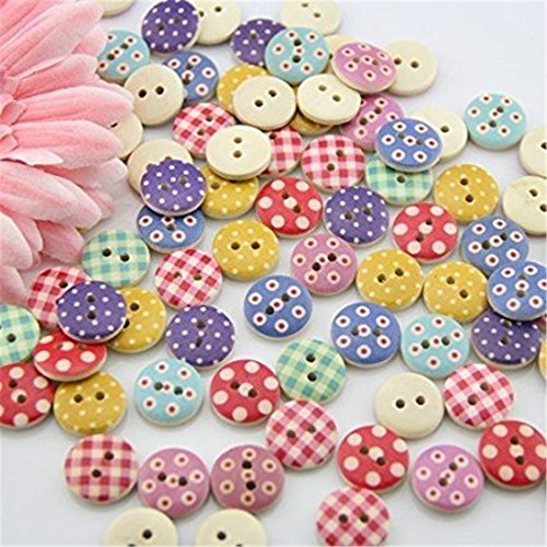 UNKE 100pcs Mixed Wooden Buttons in Bulk Buttons for Crafts Button Round Colorful