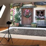 AOFOTO 7x5ft Christmas Backdrop Front Door Xmas Garland Decoration Photography Background Santa's Workshop Kid Girl Boy Artistic Portrait Photo Shoot Studio Props Video Drop Vinyl Wallpaper